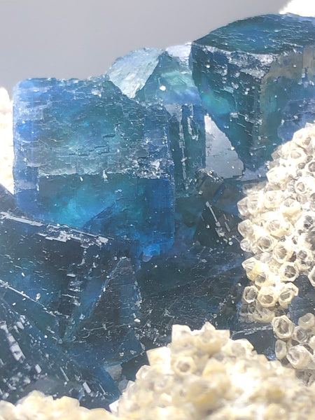 Translucent Dark Blue Green Cubic Fluorite Raw Crystals 151g