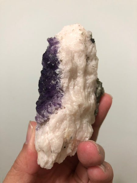 Purple Flourite On Pink Mangano Calcite With Pyrite 194g