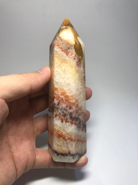Tri-Color Calcite Crystal Point 277g