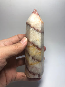 Tri-Color Calcite Crystal Point 317g