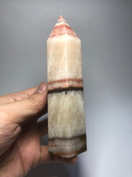 Tri-Color Calcite Crystal Point 348g