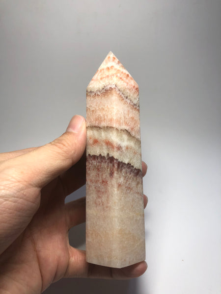 Tri-Color Calcite Crystal Point 352g