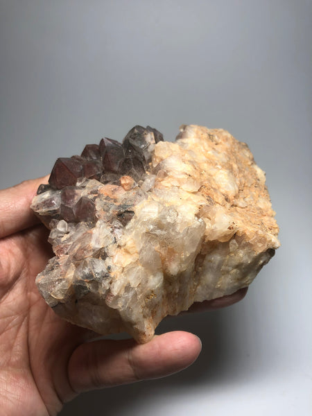 Red Hematite Phantom Quartz With Black Goethite 378g
