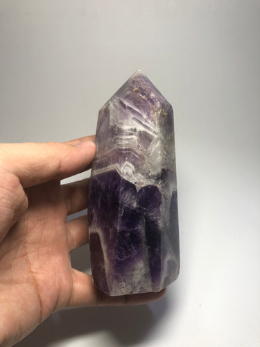 Chevron Amethyst Crystal Point 407g
