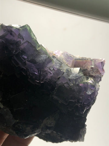 Translucent Deep Purple Cubic Fluorite with Green Zoning Raw Crystals 439g