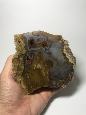 Blue Brown Agate Raw Crystals 488g