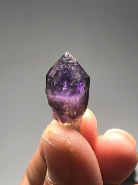 Brandberg Amethyst Scepter with Red Hematite Raw Crystals 4g