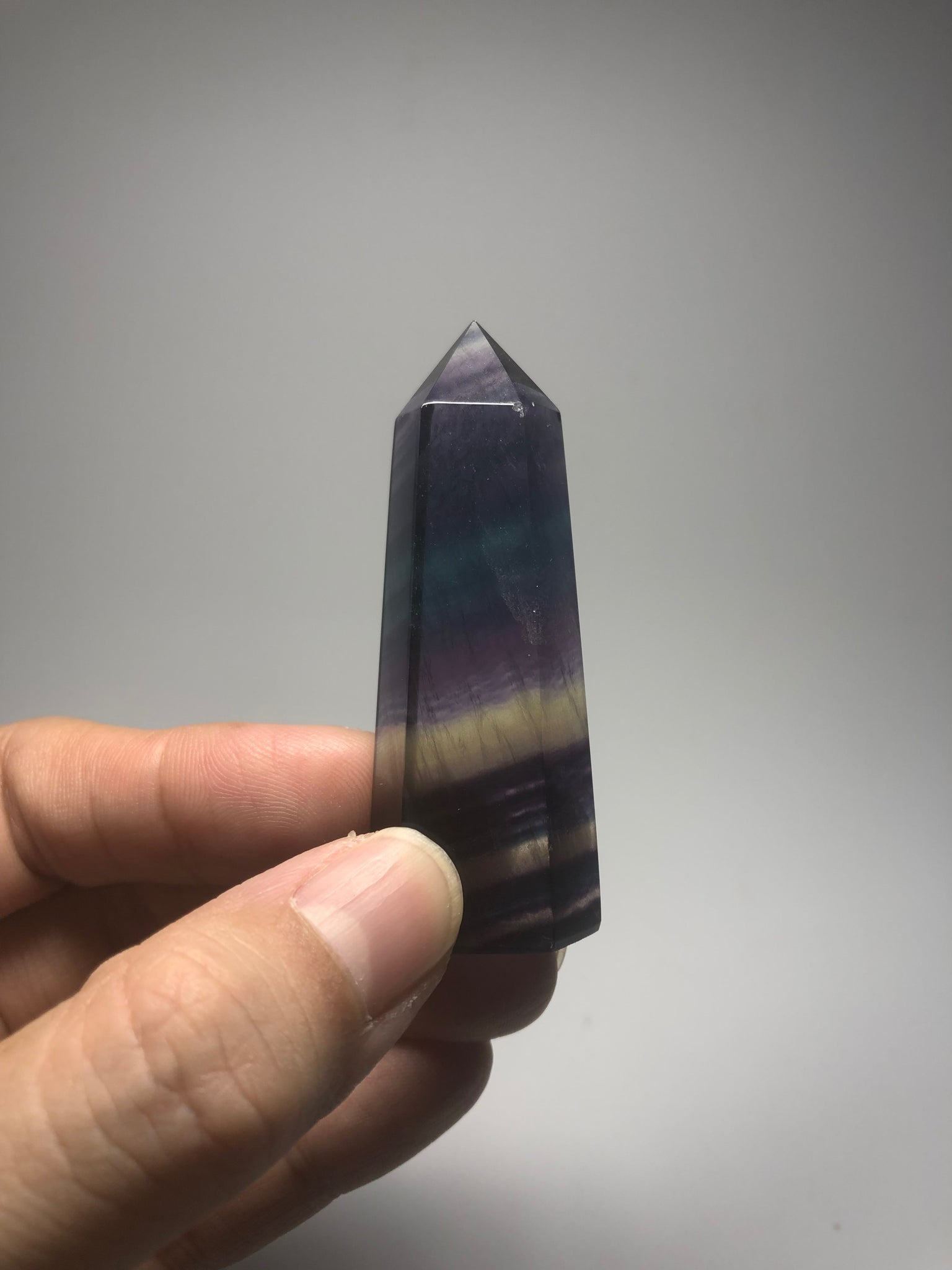 Rainbow Fluorite Crystal Point 52g
