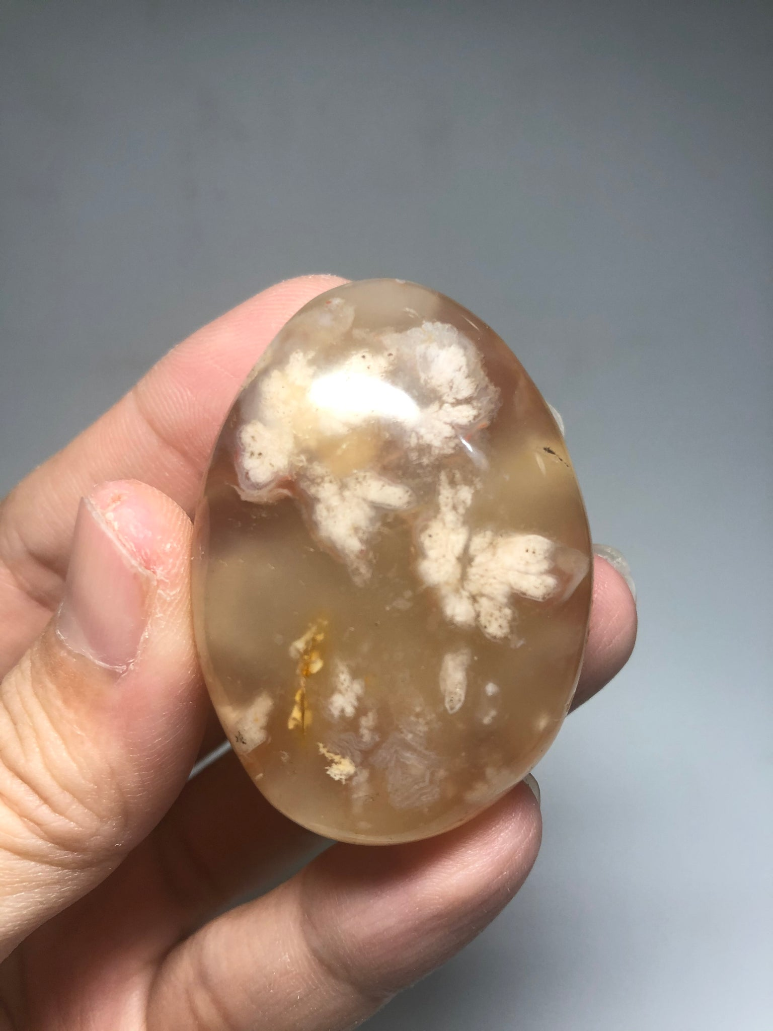 Flower Agate Palm Stones 55g