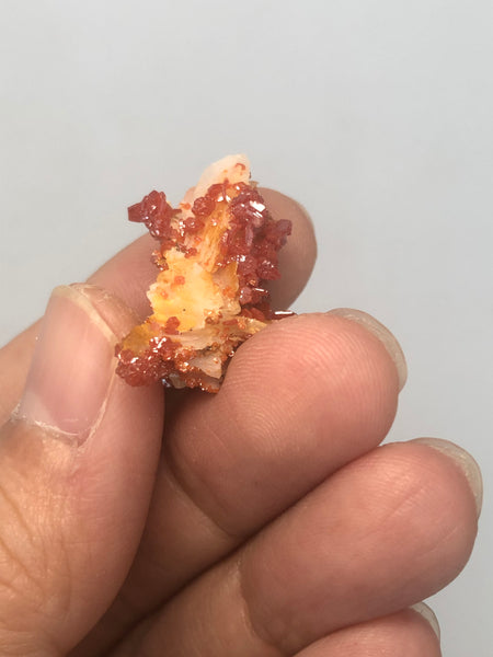 Vanadinite on Barite Raw Crystals 5g
