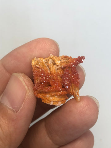 Vanadinite on Barite Raw Crystals 7g