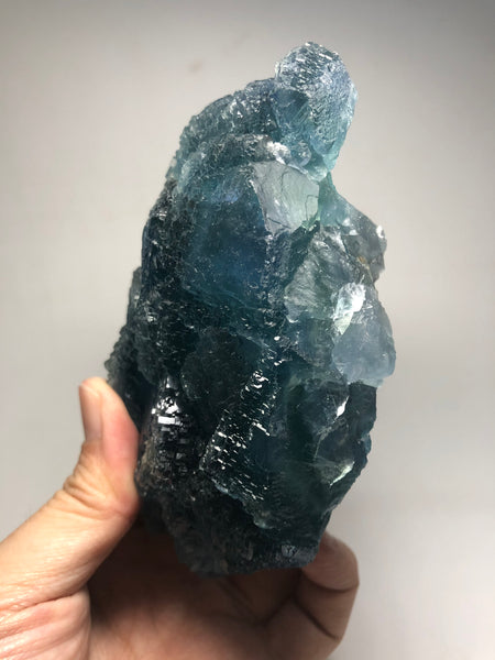 Green Blue Etched Cubic Fluorite Raw Crystals 869g