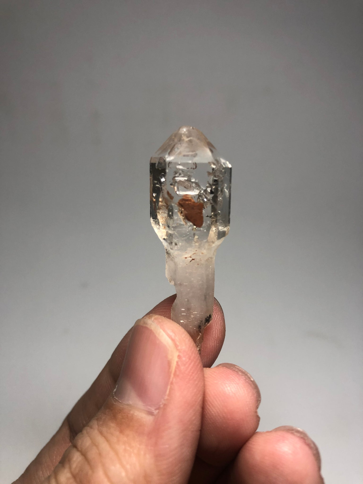 Clear Quartz Scepter Double Terminated with Hematite Inclusion 8g