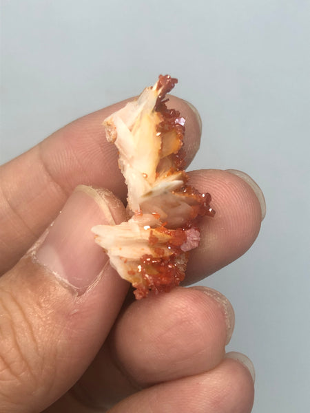Vanadinite on Barite Raw Crystals 8g