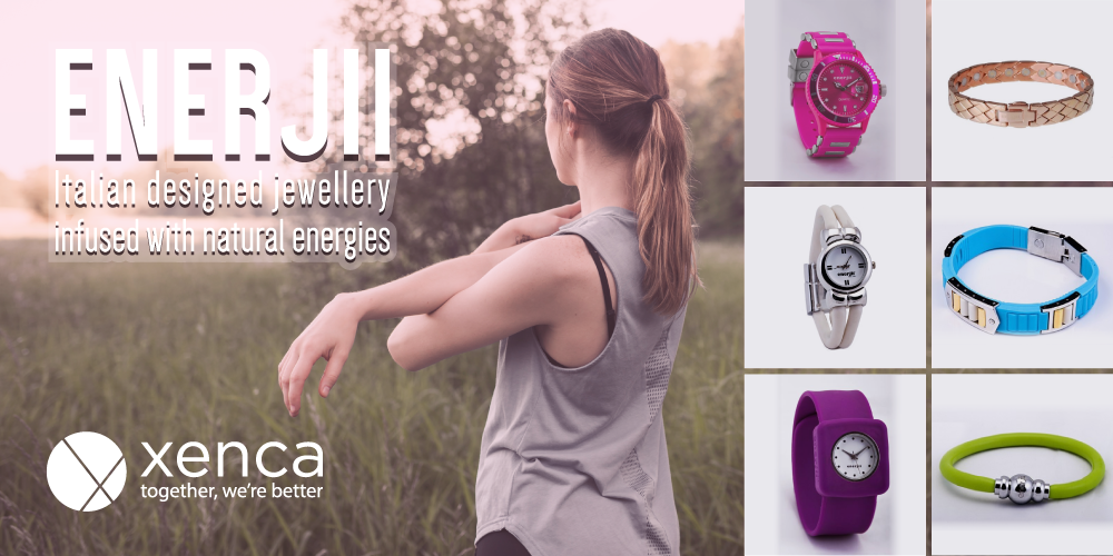 Enerjii jewellery range from xenca available to buy from Peake Health