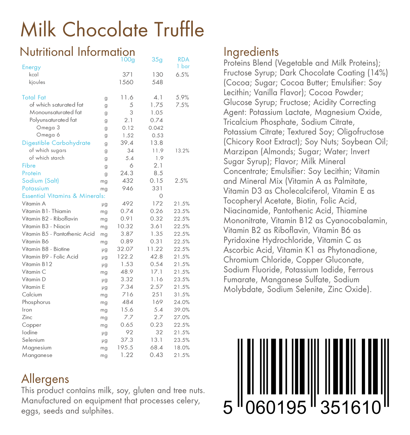 Milk Chocolate Truffle 130kcal Total Food Replacement Bar