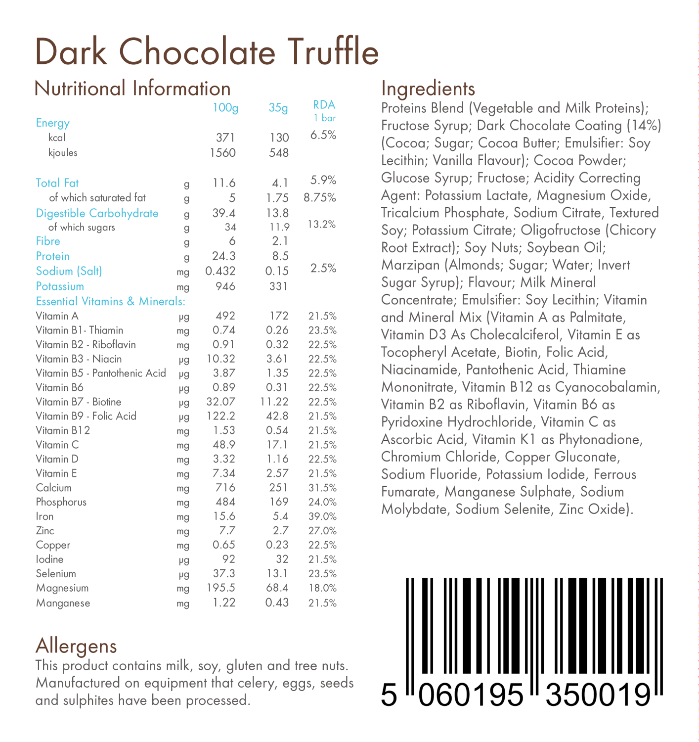 Dark Chocolate Truffle 130kcal Total Food Replacement Bar
