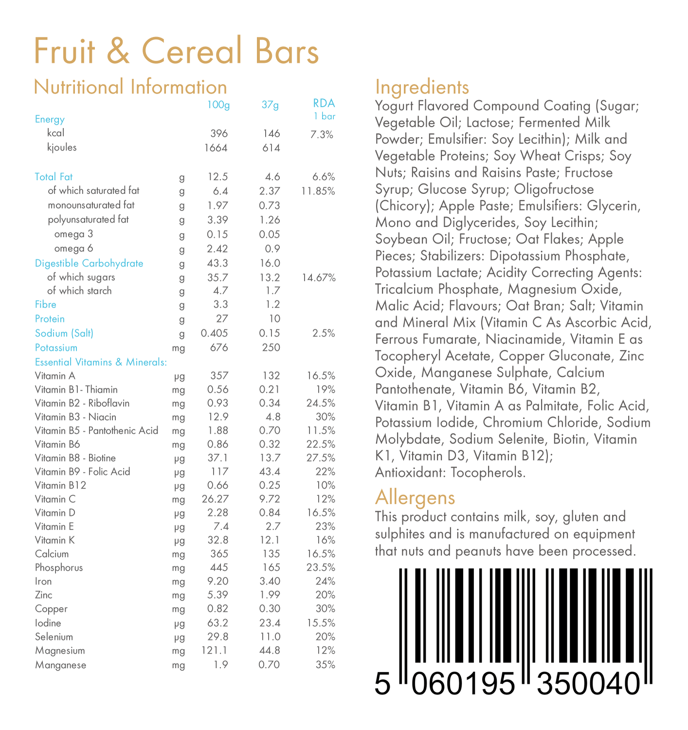 Fruit & Cereal 146kcal Total Food Replacement Bar