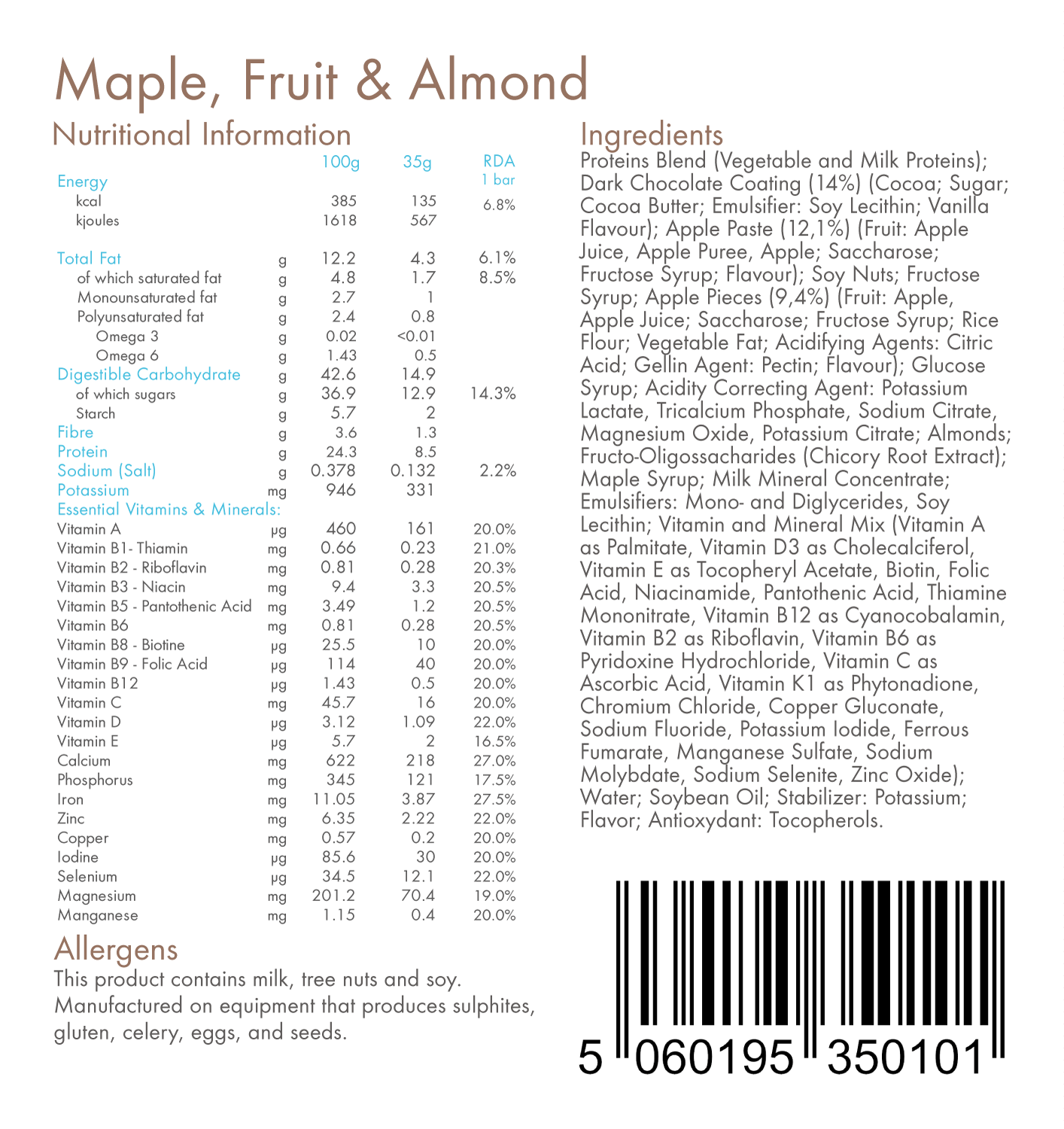 Maple Fruit & Almond 130kcal Total Food Replacement Bars