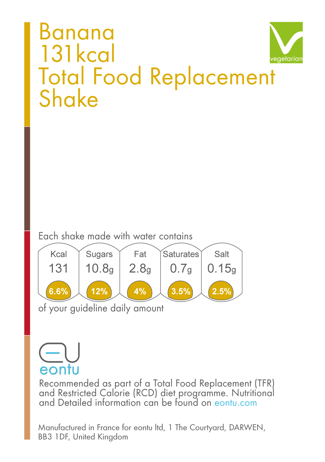 Banana Total Food Replacement Shake (131/218kcal)