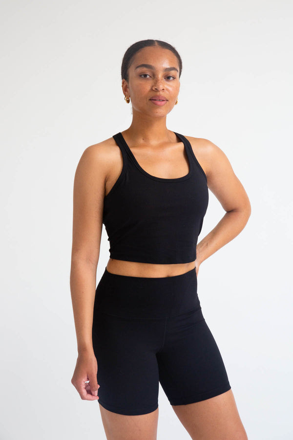 black high-waist seamless biker shorts for women