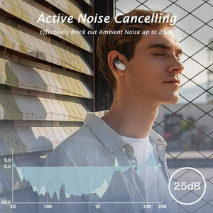 Active Noise Cancelling True Wireless Stereo Earbuds, AbleGrid FreeOdio Bean with Wireless Charging Cabin