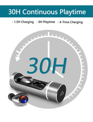 True Wireless Earbuds, ABLEGRID Kanoe apt-X solution cVc8.0 Noise Cancelling Built-in Mic in-Ear Earphones, 30H Playtime Sports Headset with Charging Cabin