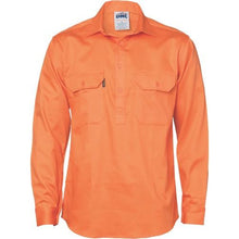 Load image into Gallery viewer, Close Front Cotton Drill Shirt - Long Sleeve 3204
