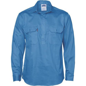 Close Front Cotton Drill Shirt - Long Sleeve 3204