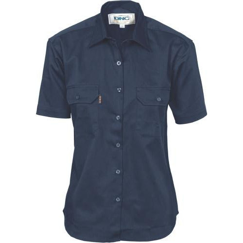 Ladies Cotton Drill Work Shirt - Short Sleeve 3231