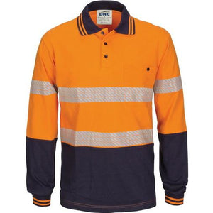 Hi Vis Segmented Tape Cotton Jersey Polo - Long Sleeve 3516