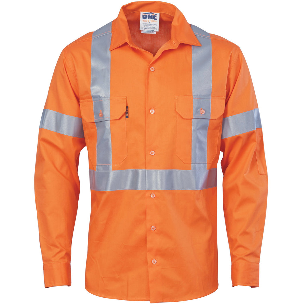Cotton Drill Shirt X Back with CSR Reflective Tape - Long Sleeve 3546 (NSW RAIL)