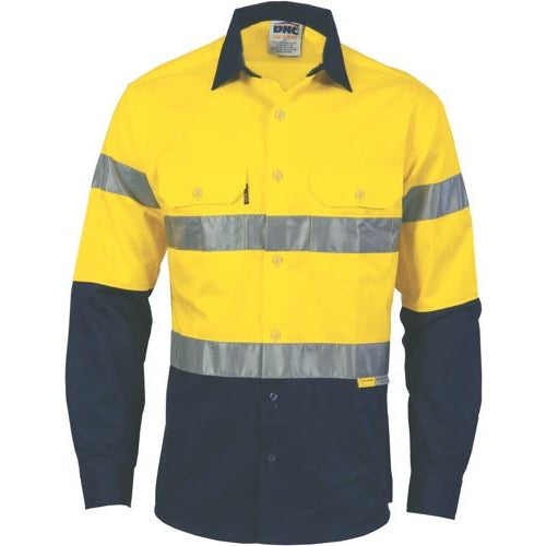 HiVis two tone drill shirt with 3M8906 Reflective Tape 3736