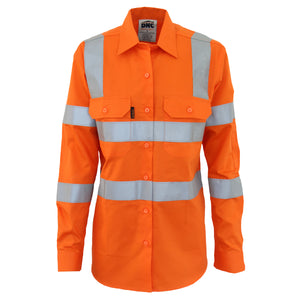 Ladies Cotton Lightweight Shirt Day/Night with CSR Reflective Tape - Long Sleeve 3742 (VIC RAIL)