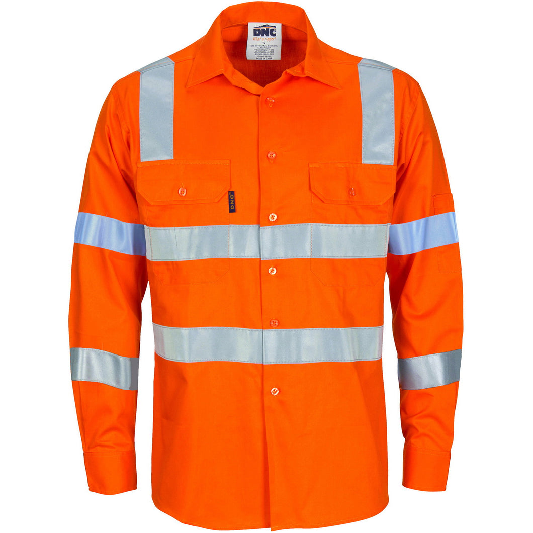 Cotton Drill Lightweight Shirt Day/Night with CSR Reflective Tape - Long Sleeve 3743 (VIC RAIL)
