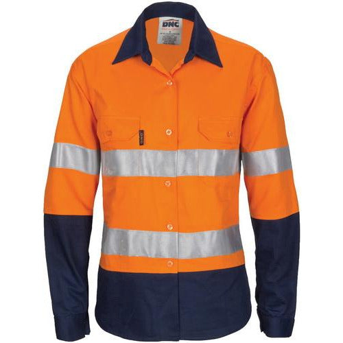 Ladies HIVIS Cool-Breeze Cotton Shirt with CSR R/Tape - Long Sleeve 3786