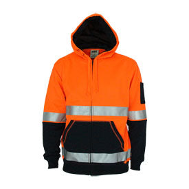 Hivis 2 tone full zip super fleecy hoodie with CSR Reflective tape - 3788