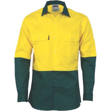 Load image into Gallery viewer, HiVis Two Tone Cotton Drill Shirt - Long Sleeve 3832