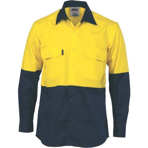 HiVis Two Tone Cotton Drill Shirt - Long Sleeve 3832