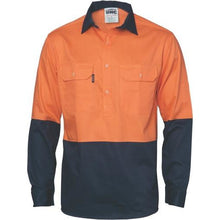 Load image into Gallery viewer, HiVis Two Tone Light Weight Closed Front Cotton Drill Shirt - Long Sleeve 3934