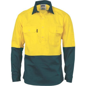 HiVis Two Tone Closed Front Cotton Drill Shirt - Long Sleeve 3834