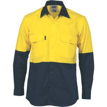 Load image into Gallery viewer, HiVis 2 Tone Cool-Breeze Cotton Shirt - Long Sleeve 3840