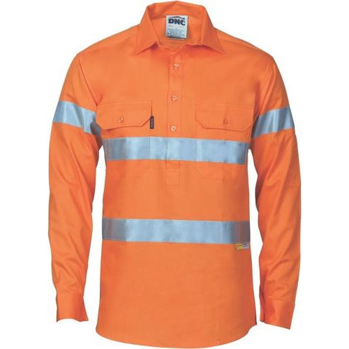 HiVis Close Front Cotton Drill Shirt with 3M R/Tape 3848