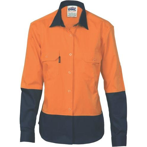 Ladies HiVis 2 Tone Cool-Breeze Cotton Shirt - Long Sleeve 3940