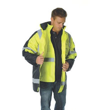 "Load image into Gallery viewer, HiVis 2 Tone Cross Back D/N ""2 in 1"" Contrast Rain Jacket 3993"