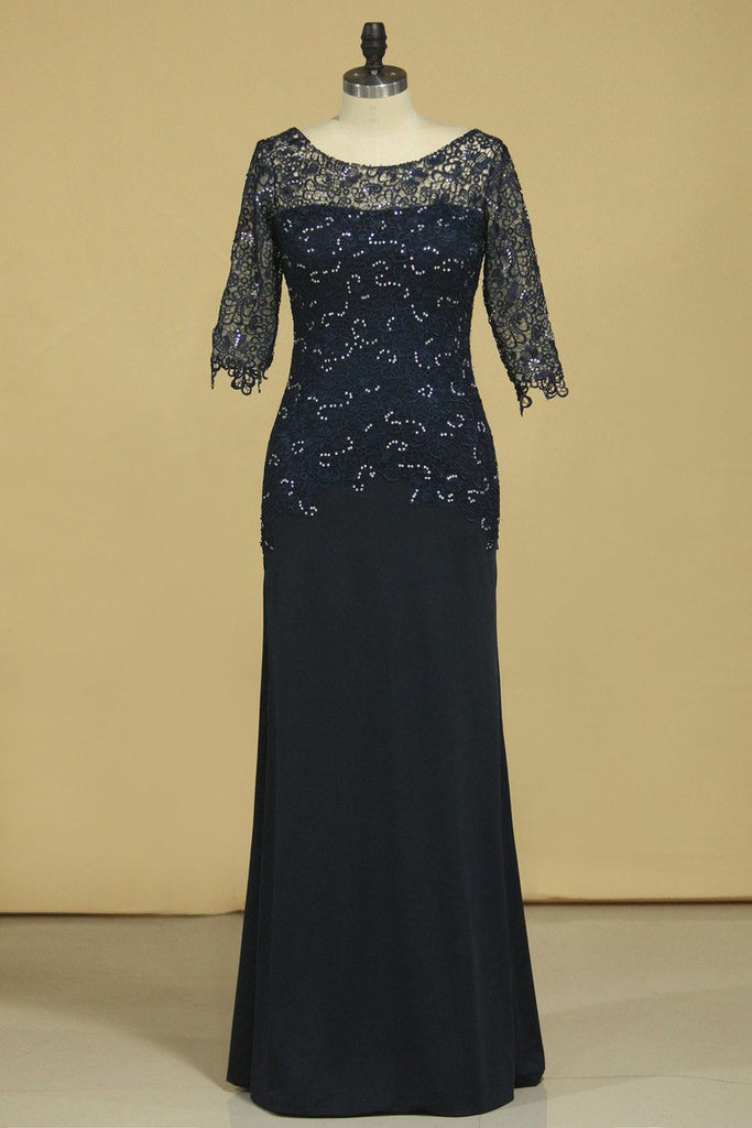 2021 Mother Of The Bride Dresses Scoop 3/4 Length Sleeve Dark Navy Spandex & Lace With Beads