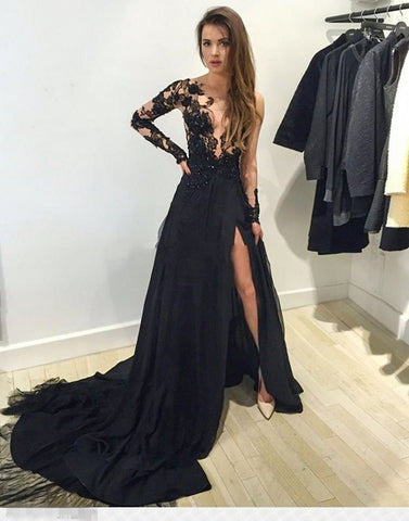 New Style Black Long Sleeves Lace Deep V Neck Thigh-High Slit Sexy Lace Evening Gowns JS111
