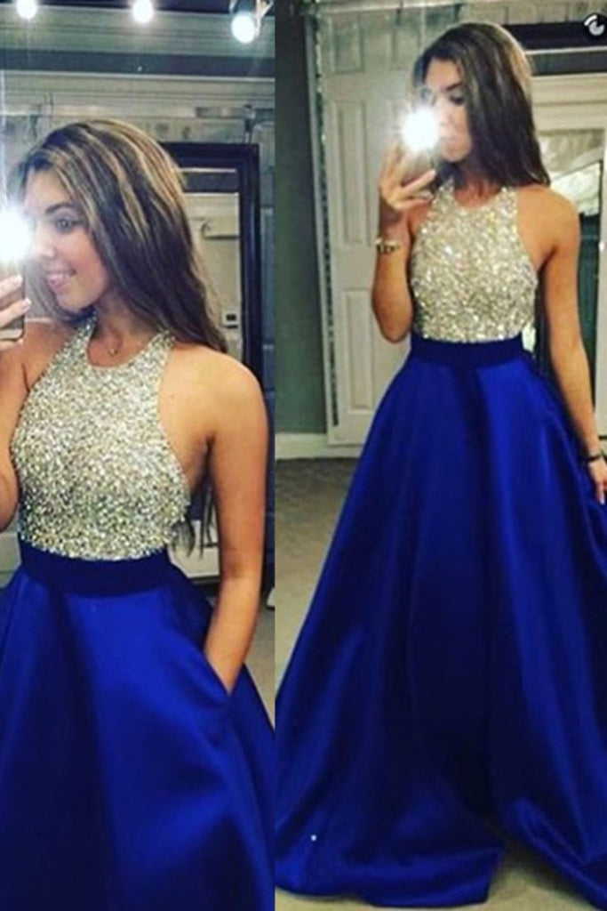 2019 Dark Royal Blue Open Back Halter Prom Dresses Beaded Bodice Satin Floor-Length