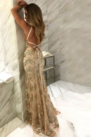 Sparkly Open Back Sequin Shiny Sheath Long Champagne Prom