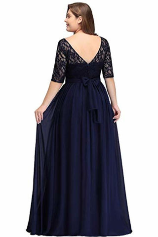 Plus Size Lace Chiffon With Half Sleeves Elegant Long Ball Evening